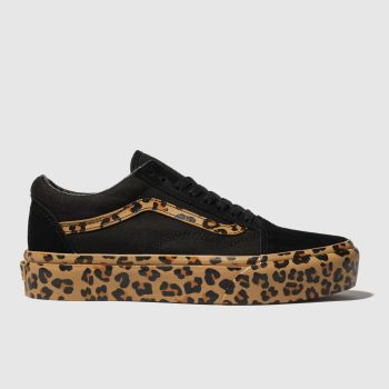 Vans Black & Brown Old Skool Platform Leopard Womens Trainers