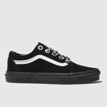1c29565375 Vans Black   White Old Skool Check Lace Womens Trainers