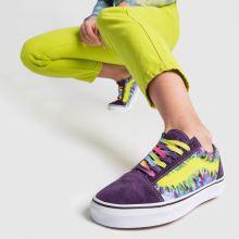 2b8bb0ade99 womens purple   yellow vans old skool tie dye trainers