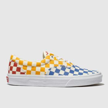 vans white & blue era checkerboard trainers