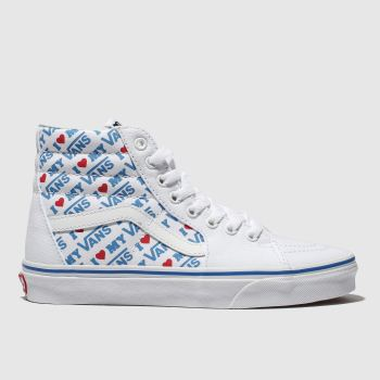 Vans White & Blue Sk8-Hi I Heart Vans Womens Trainers