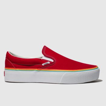 Vans Red Classic Slip Platform Womens Trainers