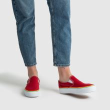 9691a77bac womens red vans classic slip platform trainers