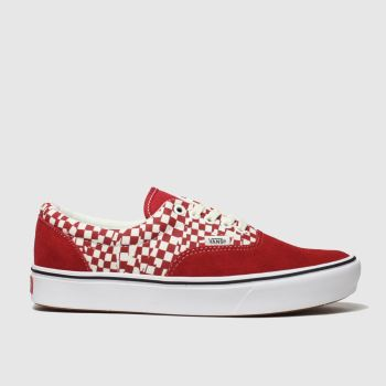 Vans White & Red Comfycush Era Tear Check Womens Trainers