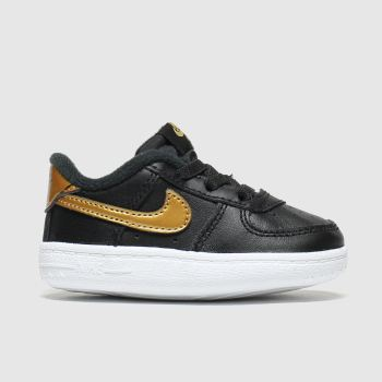 Nike Schwarz-Gold Air Force 1 Crib c2namevalue::Unisex Baby
