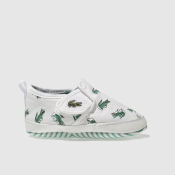 LACOSTE WHITE & GREEN GAZON CRIB SHOES BABY