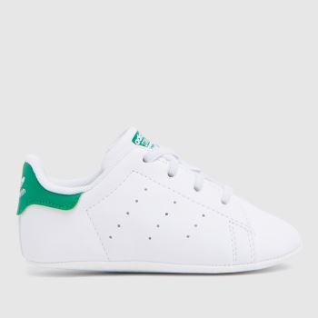 adidas White & Green Stan Smith Crib Unisex Crib