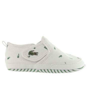 LACOSTE WHITE & GREEN GAZON BABY TRAINERS