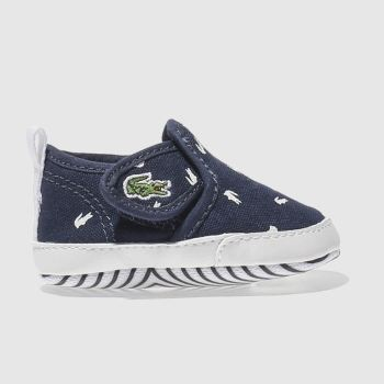 LACOSTE NAVY GAZON CRIB BABY TRAINERS