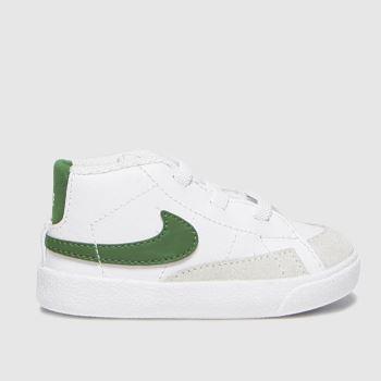 Nike White & Green Blazer Mid Crib Unisex Crib