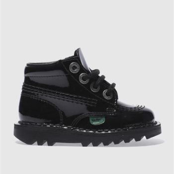 Kickers Black Kick Hi Patent Unisex Toddler