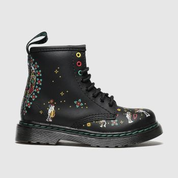 dr martens black & blue 1460 skull boots toddler