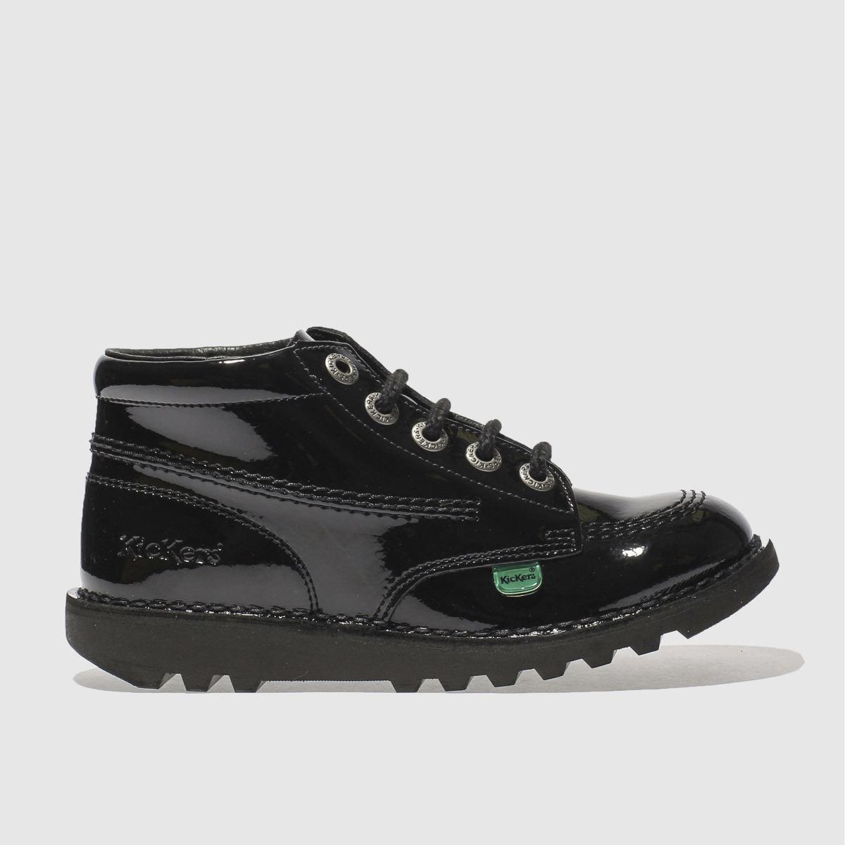 Kickers Black Kick Hi Patent Boots Junior