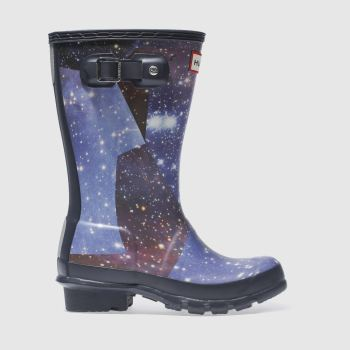HUNTER NAVY & WHITE ORIGINAL SPACE CAMO JUNIOR BOOTS
