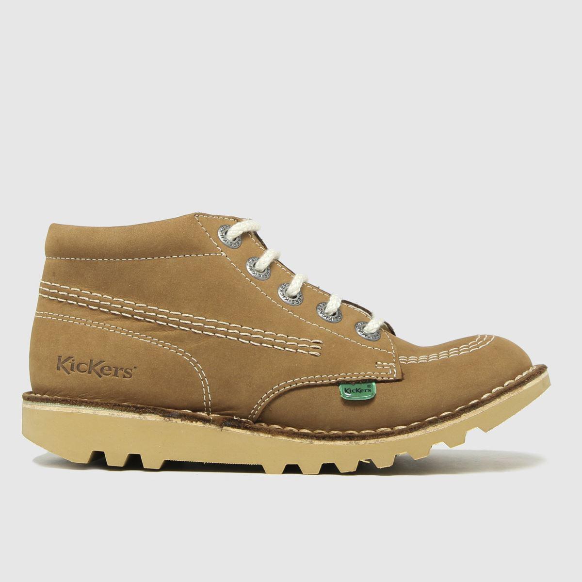 Kickers Tan Hi Zip Lthr Boots Junior