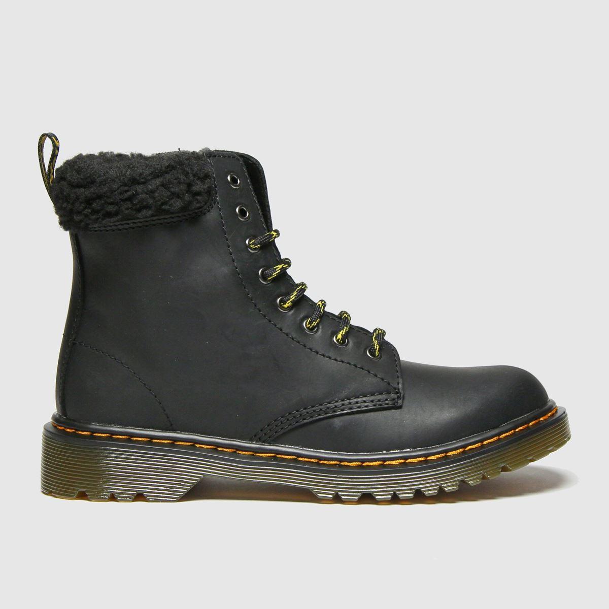 Dr Martens Black 1460 Collar Boots Junior