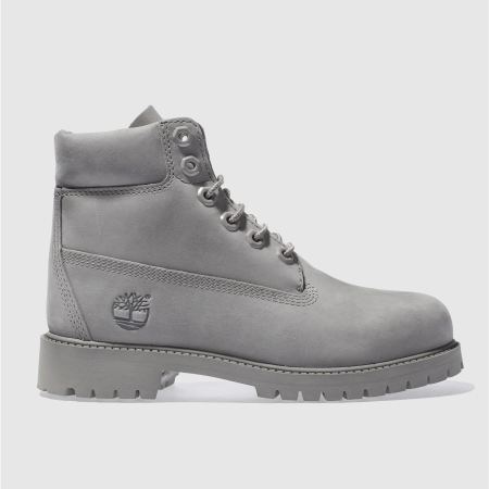 Kids Unisex Grey Timberland 6 Inch Premium Youth Schuh