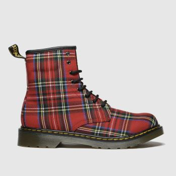 Dr Martens Red & Blue 1460 Tartan Unisex Youth