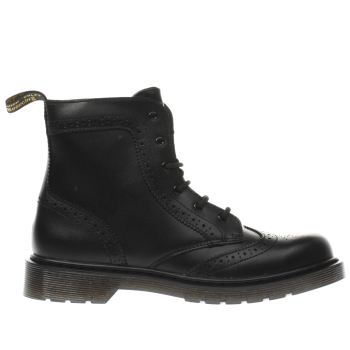 DR MARTENS BLACK DELANEY BROGUE YOUTH BOOTS