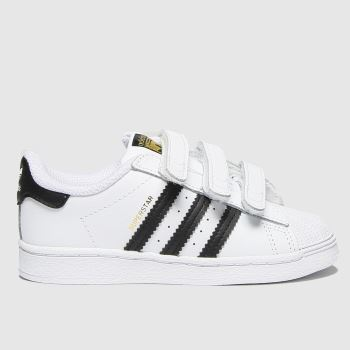 adidas White & Black Superstar 3v Unisex Toddler#