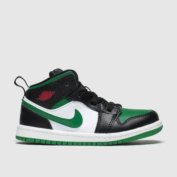 Nike Jordan Black & Green 1 Mid Unisex Toddler