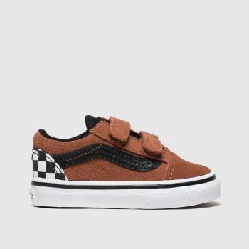 vans brown & black old skool v trainers toddler