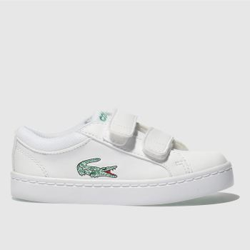 LACOSTE WHITE & GREEN STRAIGHTSET TDLR TRAINERS TODDLER