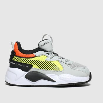 PUMA grey & yellow rs-x hard drive trainers toddler