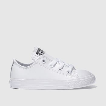 c47b99e45505a5 Converse White All Star Ox Leather Unisex Toddler