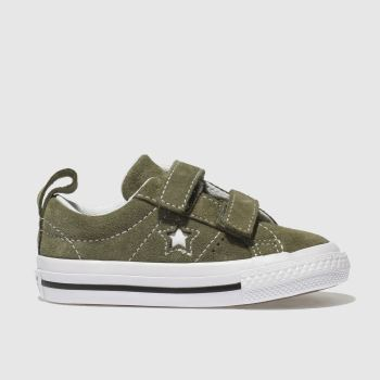 CONVERSE KHAKI ONE STAR VINTAGE SUEDE TRAINERS TODDLER