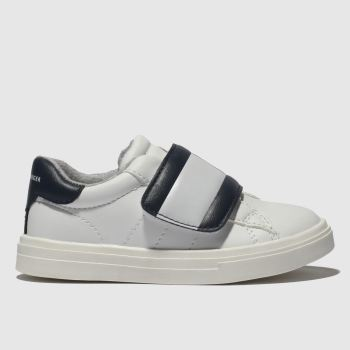 tommy hilfiger white & navy flag velcro sneaker trainers toddler