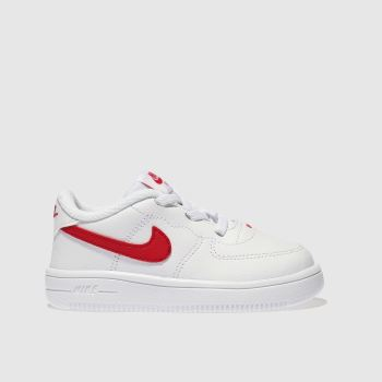 Nike White & Red Force 1 18 Unisex Toddler