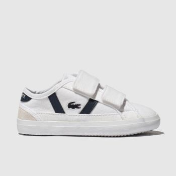 lacoste white & navy sideline trainers toddler