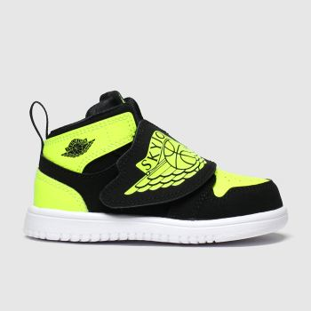 nike jordan black & green sky 1 trainers toddler