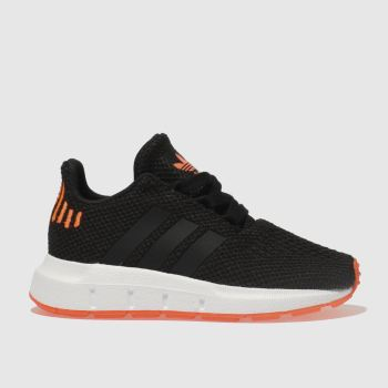 ADIDAS BLACK & ORANGE SWIFT RUN TRAINERS TODDLER