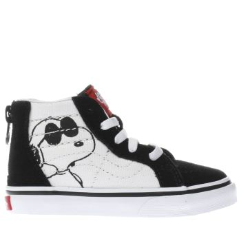 VANS WHITE & BLACK SK8-HI PEANUTS JOE COOL TODDLER TRAINERS