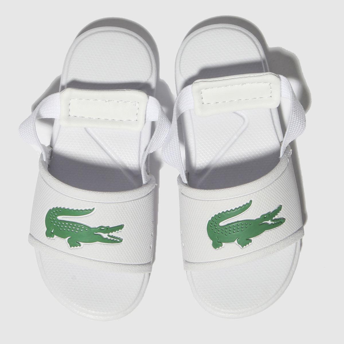 Lacoste White & Green L.30 Slide Sandals Toddler
