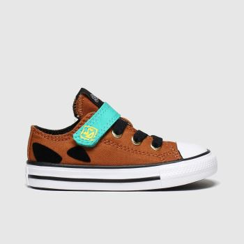 Converse Brown & Black All Star 1v Lo Scooby Unisex Toddler#