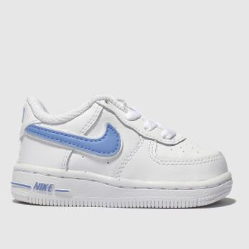 Nike White & Pl Blue Air Force 1-3 Unisex Toddler