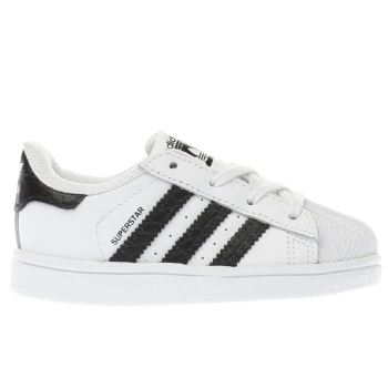 adidas white & black superstar trainers toddler