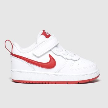 Nike White & Red Court Borough 2 Unisex Toddler