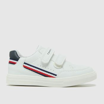 Tommy Hilfiger White & Navy Low Cut Velcro Sneaker Unisex Toddler