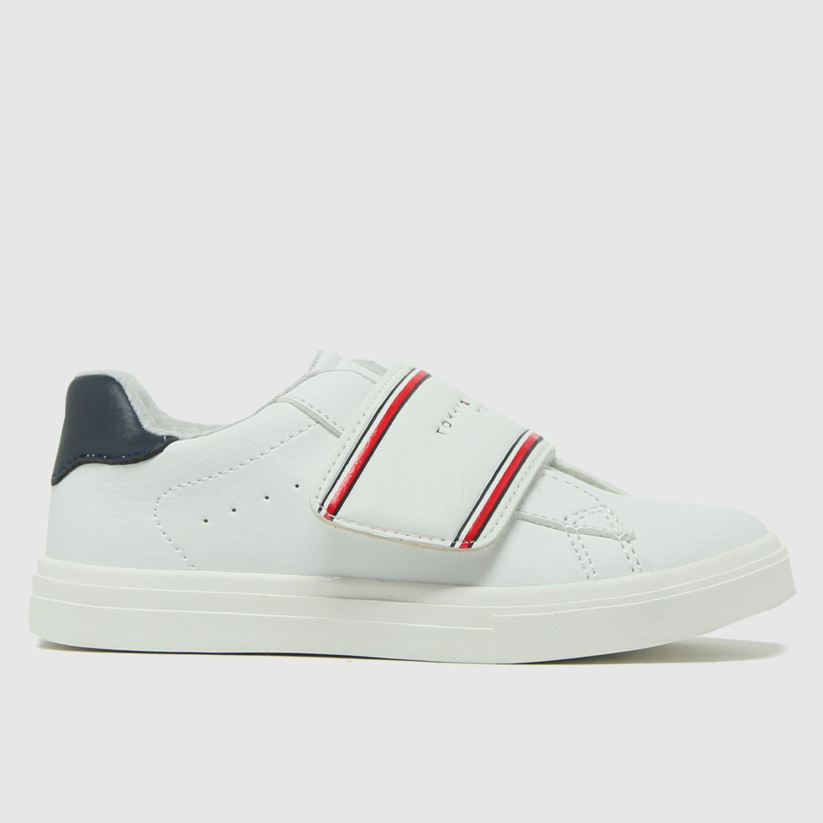 Tommy Hilfiger White & Red Low Cut Velcro Sneaker Tdlr Trainers