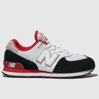 New Balance White & Black 574 Unisex Junior