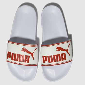 PUMA WHITE & RED LEADCAT SANDALS JUNIOR