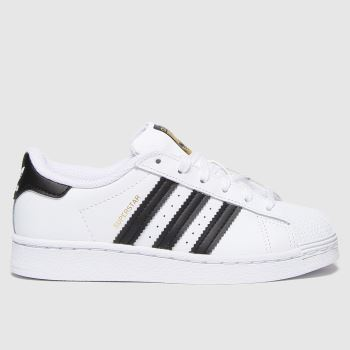 adidas White & Black Superstar Unisex Junior