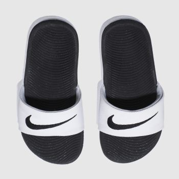 Nike White & Black KAWA SLIDE Unisex Junior