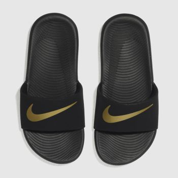 low priced a838c 1e12d Nike Black  Gold Kawa Slide Unisex Junior