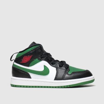nike jordan black & green 1 mid trainers junior