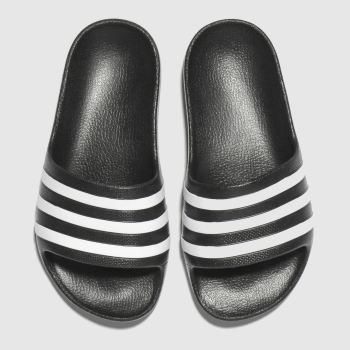 Adidas Black & White Adilette Aqua Unisex Junior